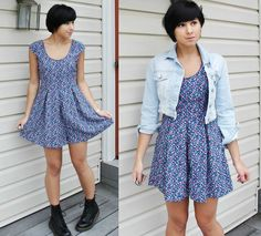 Urban Outfitters Floral Romper, Topshop Jean Jacket,