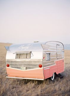 Silver and coral camper. Functional and pretty! #coralcrush