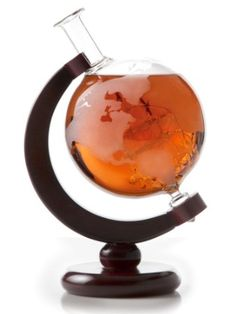 Gift ideas for dad This is a great gift idea for your groomsmen! Useful, unique and with class! Etched Globe Whiskey Decanter- 750ml Liquor Decanter with Wood Stand Bourbon, Scotch, Vodka Decanter