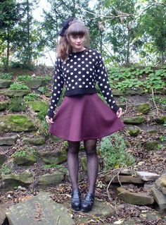 Loving these dark colors in flirty prints. #polkadots #purple