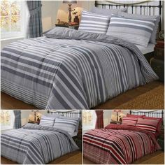 """FLANNEL FLANNELETTE STRIPES STRIPED BRUSHED DUVET QUILT COVER COTTON BEDDING SET. Material: 100% Brushed Cotton Machine washable.  """"FREE SHIPPING""""   #FREE_SHIPPING #brushed_cotton #100cotton #fullduvetcover #fullduvetsets #duvet_sets_collection #duvetshopping #buyduvets #onlineduvets #duvetsinuk #duvetcover #duvetcollection #duvetsets #duvetbedcover #duvetbedding Bed Sheets Uk, Flat Sheets, Cotton Bedding Sets, Duvet Bedding Sets, Full Duvet Cover, Quilt Cover, Bed Covers, Bed Spreads, Modern Design"""