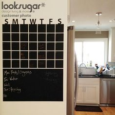 Chalkboard Wall Calendar  Modern Home Wall Decal  by looksugar, $58.00