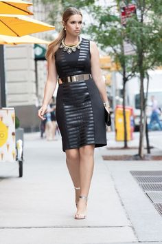 Make heads turn in our Ponte Faux Leather Mix Dress | Women's Plus Size Dresses | ELOQUII