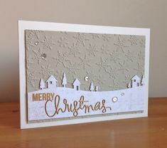 Neutral Christmas card with Memory Box Country Landscape die Boxed Christmas Cards, Merry Christmas, Christmas Paper Crafts, Homemade Christmas Cards, Xmas Cards, Homemade Cards, Handmade Christmas, Holiday Cards, Memory Box Cards