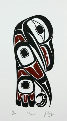 This art piece uses geometric and organic shapes, it demonstrates use of angles and points as you can see on the tip of the wing and beak. I think the majority of this piece is quite aggressive with the use of angles and geometric shapes Haida Kunst, Inuit Kunst, Arte Inuit, Arte Haida, Haida Art, Inuit Art, Haida Tattoo, Native American Totem, Native American Indians