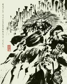 Takeda Shingen, Samurai Art, Illustrations And Posters, Ink Art, Scene, Japan, Artwork, Anime, Warriors