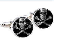 High Quality Skull Crossbones Cufflinks Pirate Jolly Roger Cufflink Bag Box New #Unbranded