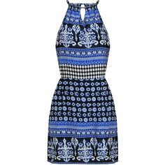 Yoins Totem Print Cut Out Self-Tie Mini Dress in Blue ($16) ❤ liked on Polyvore featuring dresses, vestidos, yoins, blue, self tie dress, short blue dress, blue cutout dress, blue mini dress and blue sleeveless dress