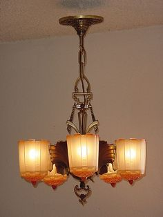 Original finish 5 slip shade vintage Art Deco light fixture chandelier