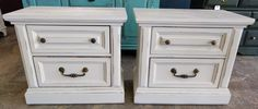 "Nightstands are in huge demand for some reason so I found this pair and painted them a distressed antique white. What do you think?  The dimension are 26"" L, 15"" W, 23"" H. Asking price $250. Interested? Call/Txt me 281-917-0332.  SOLD!! for $250 ww.pinterest.com/shabbychictexas/my-shabby-chic-nightstands/"