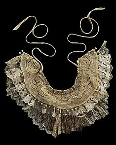 Walid for CoutureLab Antique Apron Neckpiece CoutureLab com - Stylehive Art Textile, Textile Jewelry, Fabric Jewelry, Jewellery, Crochet Collar, Lace Collar, Collar And Cuff, Victorian Lace, Antique Lace