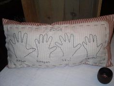 Grandchildrens handprint pillow I made
