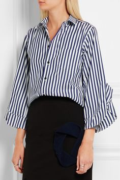 Toga | London ruffled striped cotton-poplin shirt | NET-A-PORTER.COM