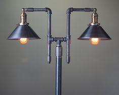 Vintage Lampara de pie - estilo Industrial iluminación - lámpara de tubo de hierro - Metal cortina - muebles industriales