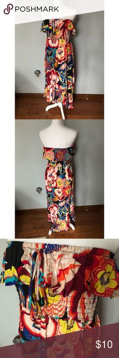 Women's high-low Strapless Dress / Size: Plus 1 NWOT Vibrantly colored strapless maxi dress with bright fun colors. Fun smocking detail under the bust with a tie. The best part is the high-low hem! Never warn. Pure Energy Dresses High Low