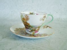 Shelley China Teacup Set - Vintage Shelley Tea Cups and Saucers via Etsy