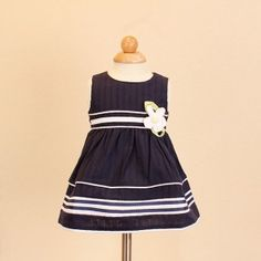 Jayden & Co Blue Striped Floral Embroidery Baby Dress [Mix 3 For RM 100]