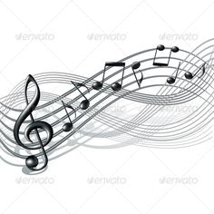 Musical Notes Staff Background - Decorative Symbols Decorative