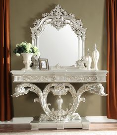 Design Furniture, Luxury Furniture, Baroque, Silver Console Table, Traditional Console Tables, Liberty Furniture, Victorian Design, Italian Furniture, Grey Wood