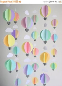 BOXING DAY SALE Hot Air Balloon Garland 'Ice by youngheartslove