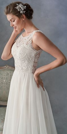 Kenneth Winston 1804 / Simple Aline Tulle Skirt / Lace bodice / High Neckline / Dramatic full Lace back / Romantic Wedding gown / - Pinpicgo Rustic Wedding Gowns, Tulle Wedding Gown, Tea Length Wedding Dress, Elegant Wedding Dress, Wedding Skirt, Trendy Wedding, Lace Wedding, Wedding Ideas, Modest Wedding Dresses With Sleeves