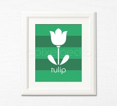 Tulip  Green Nursery Art Print  8x10  Baby Girl by pixelgecko, $14.90