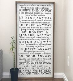 Mother Teresa farmhouse framed sign do it anyway Farmhouse Frames, Farmhouse Windows, Farmhouse Signs, Farmhouse Decor, Painted Signs, Wooden Signs, People Are Often Unreasonable, New Beginning Quotes, Friendship Day Quotes