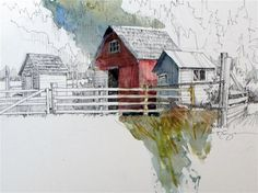 """Outbuildings"" - Original Fine Art for Sale - © Paula Ensign"
