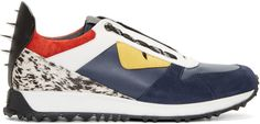Fendi Navy & White Leather Bugs Low-Top Sneakers