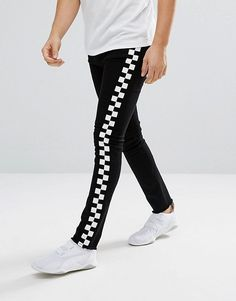 Granted Super Skinny Jeans In Black With Checkerboard Print Stripe at  asos.com 868a0568f1f