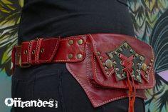 Leather Utility Belt Handmade Designer Pocket Belt by offrandes