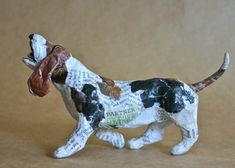 Basset Hound Whimsical Paper Mache Dog Sculpture by PaperPort