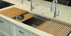 Ideal Workstation 5 with Natural Bamboo Culinary Kit Replace the Main Sink? (They say its avail. as an apron style) Small Kitchen Redo, Round Kitchen, Steel Kitchen Sink, Kitchen Sinks, Stainless Kitchen, Kitchen Island, Kitchen Work Station, Kitchen Cabinetry, Kitchen Decor
