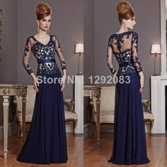 Find More Mother of the Bride Dresses Information about Fashionable V Neck See Through Lace Details Champagne and Blue Chiffon Mother of the Bride Dresses 3/4 Sleeves,High Quality lace one shoulder wedding dress,China lace wedding dress Suppliers, Cheap dresses with lace from Sally Dress Factory on Aliexpress.com