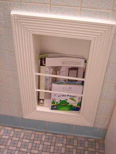 Magazine Rack Built Into The Bathroom Wall