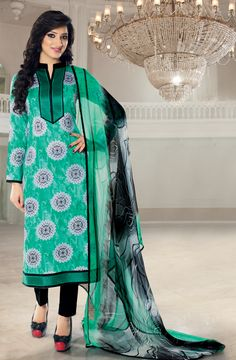 Buy Green and Black Un-stitched Glaze Cotton Salwar Suit with Embroidered Neckline - SAL16103A - Online at Rs.1550 on Tacfabfashions.com. Type of Work - Top: Printed front and back, printed sleeves, embroidery on neck and bottom hem, Bottom: Plain  Shop here: http://goo.gl/G2Hdtt #SalwarSuits #GlazeCotton #Printed #Embroidered #Unstitched #CasualWear #SummerCollection #Tacfab #TacfabFashions #TacfabSuit #TacfabDressMaterial #TacfabShop #TacfabStore #TacfabOnlineStore