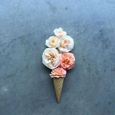 It's and we're trying to decide if we'd prefer an ice cream cone full of flowers or a bouquet full of ice cream? My Flower, Flower Art, Ice Cream Flower, Flower Quotes, Belle Photo, Flower Decorations, Beauty And The Beast, Cute Wallpapers, Beautiful Flowers