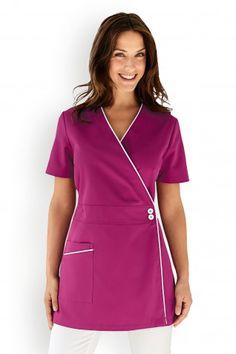 Blouse cache-coeur Spa Uniform, Scrubs Uniform, Beauty Therapist Uniform, Scrubs Pattern, Scrubs Outfit, Medical Uniforms, Latest African Fashion Dresses, Uniform Design, Nursing Clothes