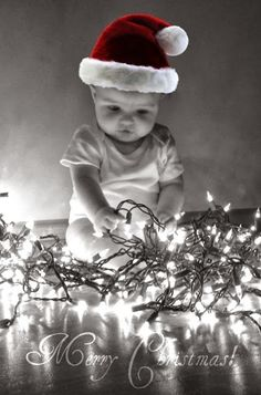 Christmas lights and baby! Best combo!