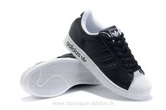 brand new 8cd69 1ad81 Adidas Superstar II Blanc Chaussures Noires Hommes Adidas Superstar 2 W
