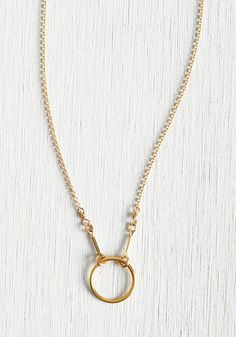 Has a Nice Ring to It Necklace. If you like the sound of everyday elegance, this delicate pendant necklace will do you right! #gold #modcloth