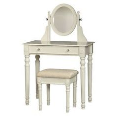 """Two-piece vanity set in white. Includes one-drawer vanity with an adjustable mirror and matching cushioned stool. Product: Vanity and stoolConstruction Material: MDF, wood, mirrored glass and fabricColor: White and ivoryFeatures:   Adjustable mirror   Plush and padded stool   Spindle legsDimensions: 49"""" H x 32"""" W x 18.3"""" D (overall)  Note: Some assembly required"""