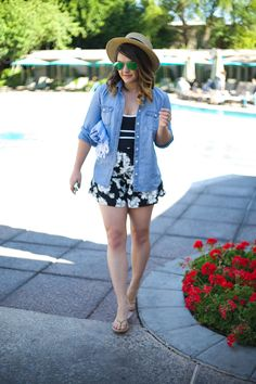 Mae Amor (@MaeAmor)- Black and White Floral Shorts, SPANX one piece swimsuit, denim shirt, boater hat, mirrored Ray-Ban aviators