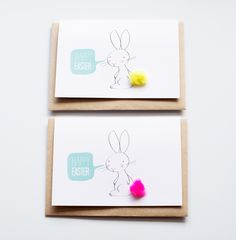 idea for easter cards (with those pompom I never know what to do with!)