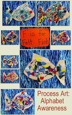 """""""F is for Felt Fish!"""" Collage, open-ended exploration of felt."""