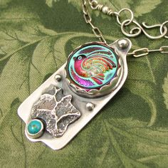 """BIRD Czech Glass Button """"Sky Washed"""" Sterling Pendant with Charcoal Block Casting and Turquoise Stone - OOAK by marybird on Etsy"""