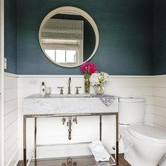 Shiplap Powder Room - Design, decor, photos, pictures, ideas, inspiration, paint colors and remodel