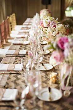 Dining Table with Blush and Gold Linens and Lush Flower Centerpieces | Vintage Ambiance | Courtney Bowlden Photography https://www.theknot.com/marketplace/courtney-bowlden-photography-ferndale-wa-550240