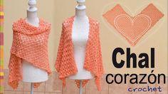 Chal corazón con abanicos de puntos puff tejido a crochet - Tejiendo Perú