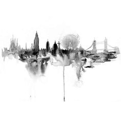 Dripping Watercolor Cityscapes - Elena Romanova Creates Stunning Silhouettes in Her Skyline Art (GALLERY)